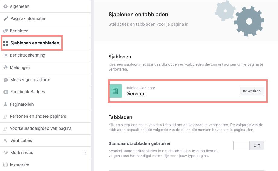 Bewerk je Sjablonen op je Facebook bedrijfspagina